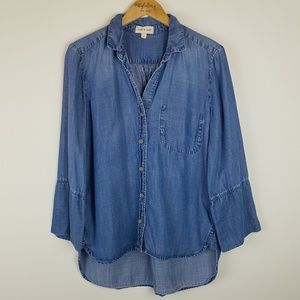 Anthro | Chambray long sleeve button down shirt